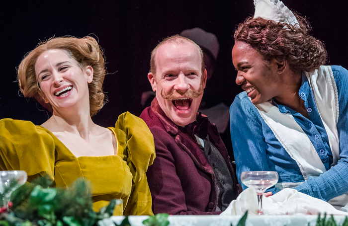 Karina Fernandez, Jonathan Slinger and Vivian Oparah in Fanny and Alexander at he Old Vic. Photo: Tristram Kenton