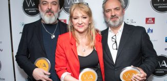 Sonia Friedman with Jez Butterworth and Sam Mendes at the WhatsOnStage Awards 2018, where she collected an accolade for services to theatre. Photo: Dan Wooller