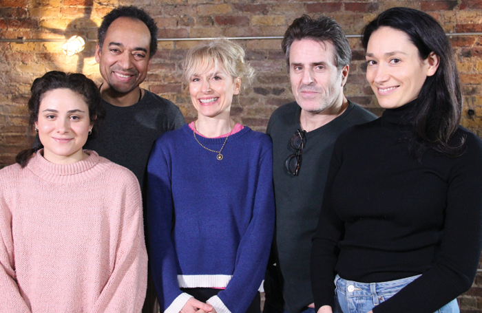 The cast of Circle Mirror Transformation, from left: Yasmin Paige, Anthony Ofoegbu, Amelia Bullmore, Con O'Neill and Sian Clifford. Photo: Sarah Leech
