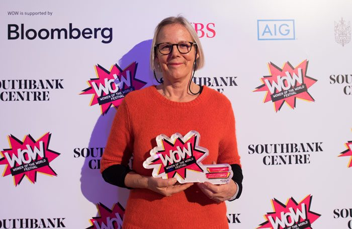 Phyllida Lloyd with her prize at the Southbank Centre's Women in the Creative Industries Awards. Photo: Alice Boagey