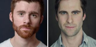 Actors Christian Edwards and Harry Long, who have formed London-based group Talk