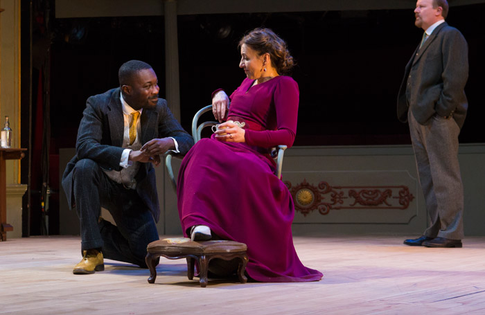 Kirsty Bushell and Jude Owusu in The Cherry Orchard at Bristol Old Vic. Photo: Jon Rowley