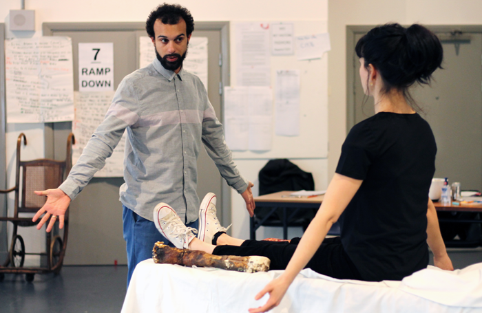 Matthew Xia and Esther McAuley in rehearsals fro Frankenstein. Photo: Anneka Morley