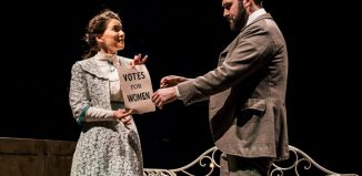 Lowri Izzard and Kieran Hill in Votes for Women at the New Vic, Newcastle-under-:Lyme. Photo: Andrew Billington