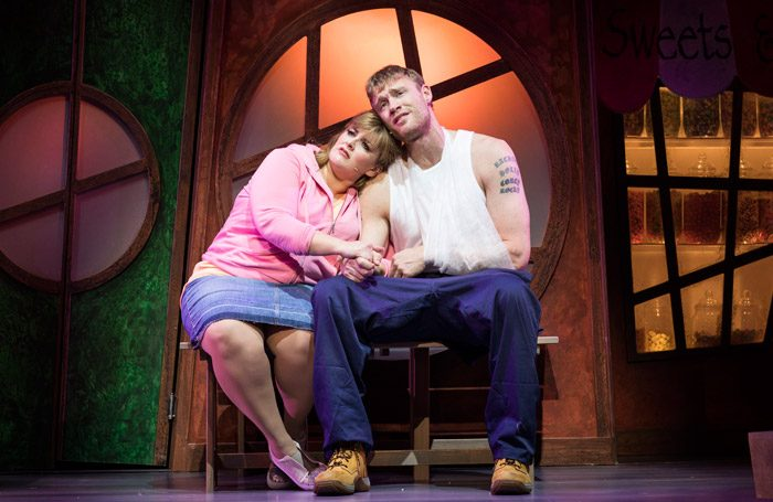 Jodie Prenger and Andrew Flintoff in Fat Friends the Musical at Milton Keynes Theatre. Photo: Helen Maybanks