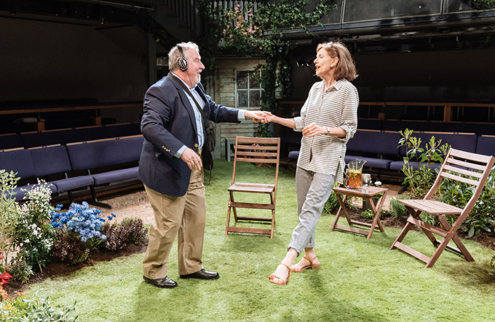 Paul Bradley and Belinda Lang in Humble Boy at Orange Tree Theatre. Photo: Manuel Harlan