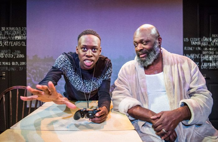 Michael Ajao and Trevor A Toussaint in Br'er Cotton at Theatre 503, London. Photo: Tristram Kenton