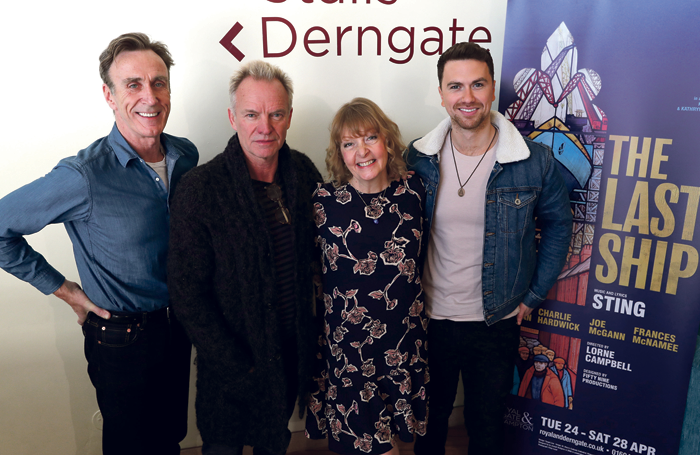 The Last Ship composer Sting (second left) with cast members Joe McGann, Charlie Hardwick and Fleeshman. Photo: John Roan