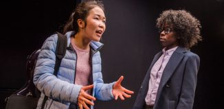 Jennifer Leong and Debbie Korley in Acceptance at Hampstead Theatre, Downstairs. Photo: Tristram Kenton