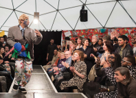 Fashion shows (above and top right) are among the events put on by Good Chance in its three Paris pop-up theatres.