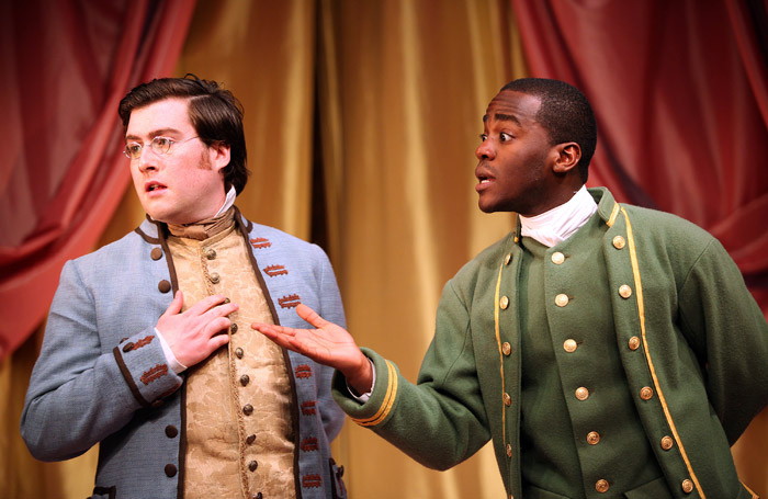 James Mack and Ncuti Gatwa in The Rivals at the Watermill Theatre, Newbury. Photo: Philip Tull