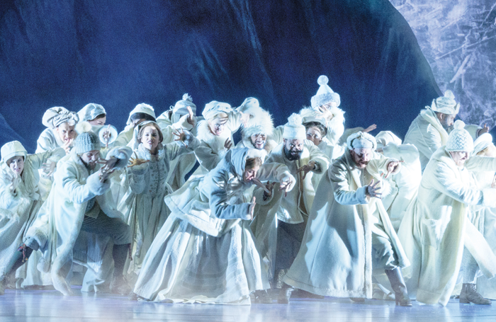 The cast of Frozen, which opens this week at St James Theatre, New York. Photo: Deen van Meer