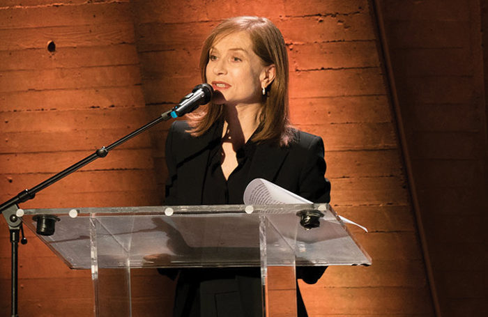 Isabelle Huppert delivers her message on World Theatre Day last year. Photo: Nicolas Sridi