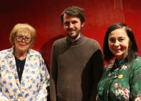 Pinter Commission winner Alistair McDowall, centre, with Antonia Fraser, Harold Pinter's widow, and Royal Court artistic director Vicky Featherstone. Photo: Robert Smael