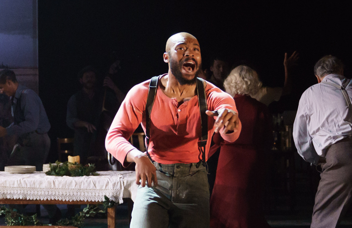 Arinze Kene (Joe Scott) in Girl From The North Country at The Old Vic. Photo by Manual Harlan