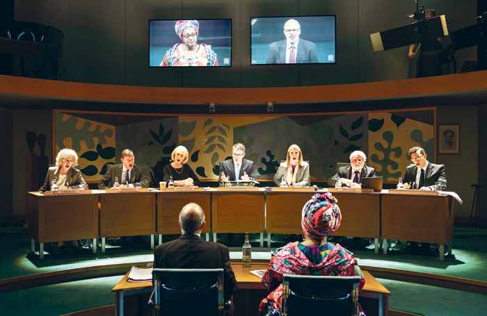 Scene from Committee (A New Musical), the Public Administration and Constitutional Affairs Committee Takes Oral Evidence on Whitehall's Relationship with Kids Company, staged at London's Donmar Warehouse last year.. Photo: Manuel Harlan