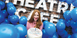 Rosalie Craig helps celebrate Stephen Sondheim's birthday at the Theatre Cafe, London. Photo: Alex Rumford