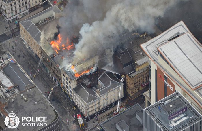 The blaze that occurred very close to Glasgow's Pavilion Theatre six months ago. Credit: Police Scotland