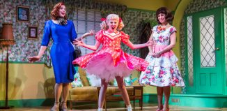Jason Gardiner, Anya Evans and Kim Maresca in Ruthless the Musical at Arts Theatre, London. Photo: Tristram Kenton