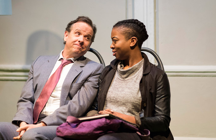 Donald Sage Mackay and Joanna McGibbon in White Guy on the Bus at Finborough Theatre, London. Photo: Helen Maybanks