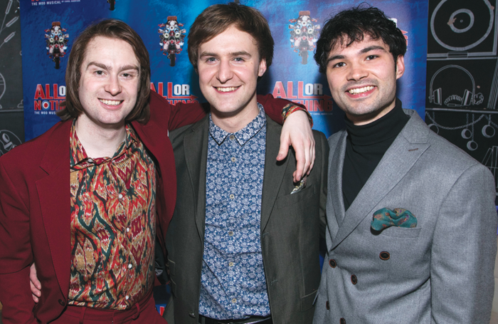 Cast members Samuel Pope, Stefan Edwards and Stanton Wright at the All Or Nothing – The Mod Musical gala night. Photo: Dan Wooller
