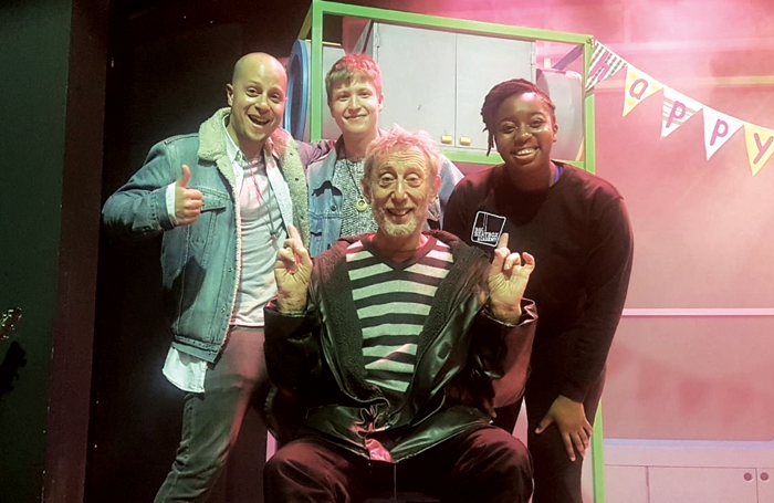Cast members Todd Heppenstall, Mark Houston and Aminita Francis with writer Michael Rosen (front)