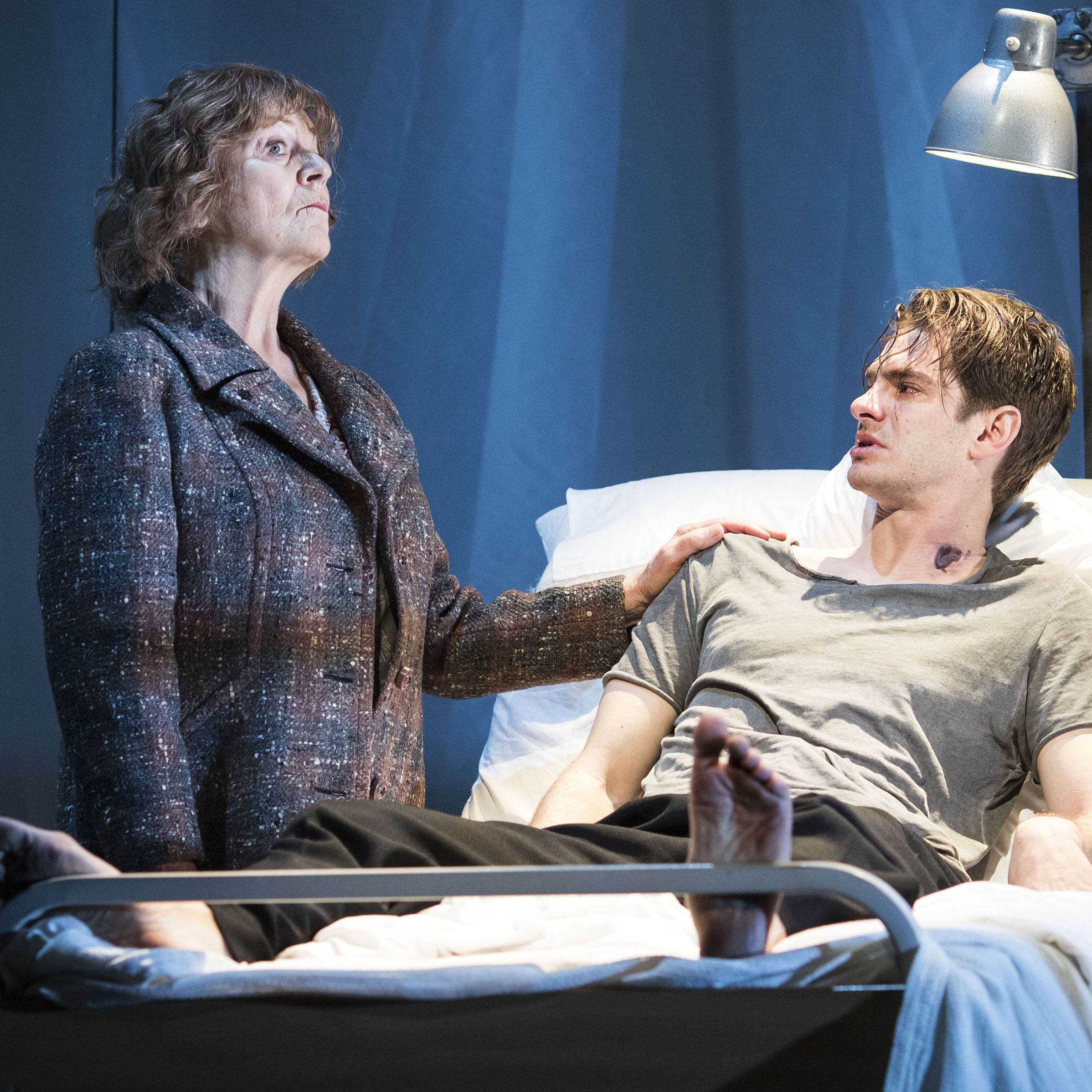 Susan Brown and Andrew Garfield in Angels in America. Photo: Helen Maybanks