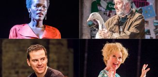 Olivier Awards nominees (clockwise from top right) Shiela Atim, John Hodgkinson, and goose, in The Ferryman, Imelda Staunton and Andrew Scott. Credits: Tristram Kenton, Johan Persson, Manuel Harlan and Tristram Kenton