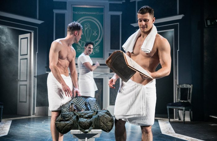Joshua Hill, Leo Staar and Eddie Eyre in The Country Wife at Southwark Playhouse, London. Photo: Darren Bell