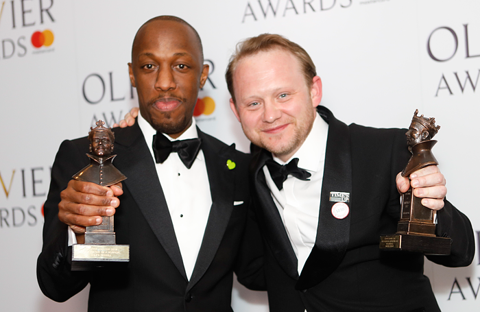 Award winners, Hamilton cast members Giles Terera and Michael Jibson. Photo: Pamela Raith