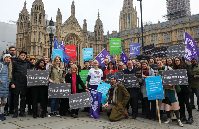 Parents in Performing Arts, which campaigns on behalf of parents working in theatre, protesting parental pay at the House of Commons earlier this year. Photo: Blake Ezra