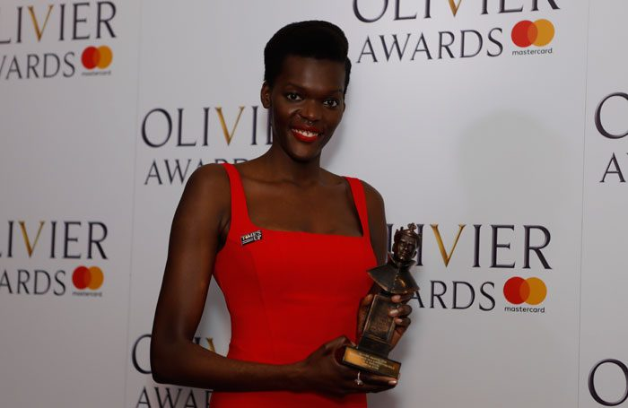 Sheila Atim at the Olivier Awards 2018. Photo: Pamela Raith