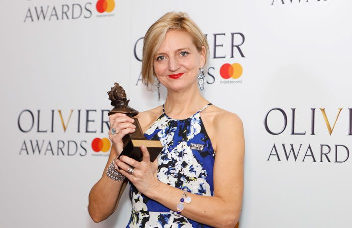 Marianne Elliott at the Olivier Awards 2018. Photo: Pamela Raith