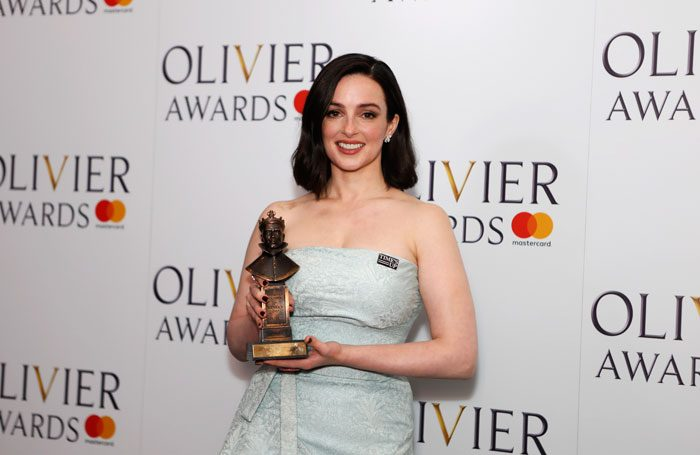Olivier winner Laura Donnelly, pictured with her prize for best actress, attended the awards ceremony with activist Katie Ghose, chief executive of Women's Aid. The awards were dominated by calls to end sexual harassment and support for the Time's Up movement. Photo: Pamela Raith