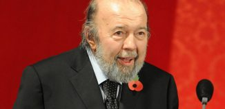 Peter Hall receiving an award for lifetime contribution to British theatre
