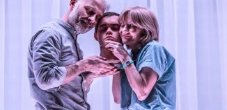 Mark Bonnar, Brian Vernel and Jane Horrocks in Instructions for Correct Assembly at London's Royal Court. Photo: Johan Persson