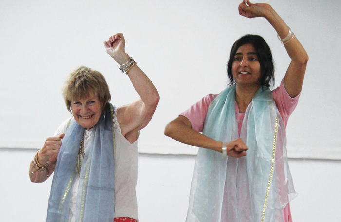 Artist Hetal Gokal (right) with a participant of Akademi's Dance Well project at Diorama Arts Studios. Photo: Akademi