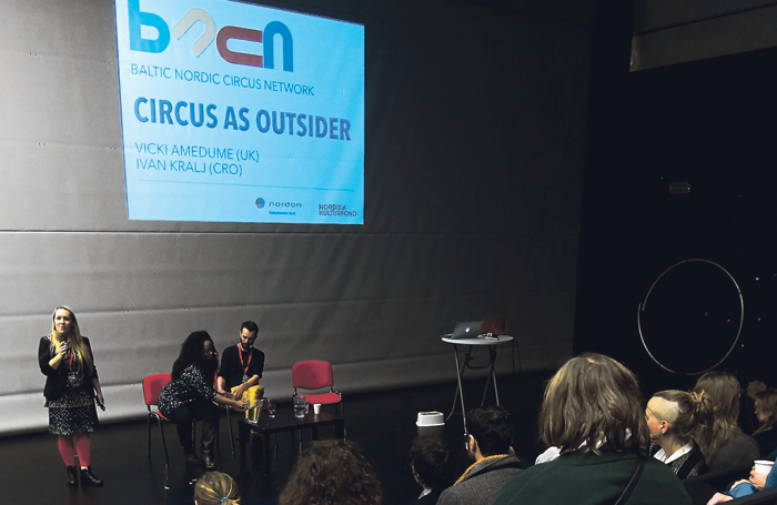 Lina B Frank with Vicki Amedume and Ivan Kralj at a Baltic Nordic Circus Network seminar. Photo: Tilly May