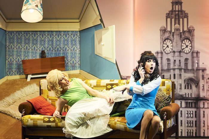 Nicola Munns and Lucinda Lawrence in The Liver Birds Flying Home at Royal Court Theatre, Liverpool. Photo: Geraint Lewis
