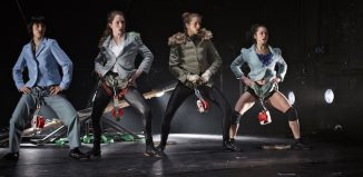 Chloe Derrouaz, Sarah Cosset, Fanny Sintes, Louisa Wruck in The Bekkrell Effect. Photo: Massao Mascaro