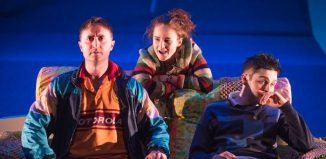 Ewan Donald, Eleanor House and Martin Quinn in Passing Places at Dundee Rep. Photo: Tommy Ga-Ken Wan