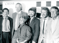 Tommy Korberg, Tim Rice, Elaine Paige, Bjorn Ulvaeus, Benny Andersson and Denis Quilley in 1986