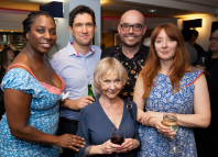 Cast members Tanya Moodie, Bo Poraj and Sheila Reid (front) with director Jonathan O'Boyle and Elizabeth Berrington (cast) at the press night of Rasheeda Speaking. Photo: Nick Rutter