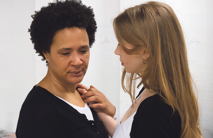 Golda Rosheuvel in rehearsals for Othello with Emily Hughes as Desdemona. Photo: Brian Roberts