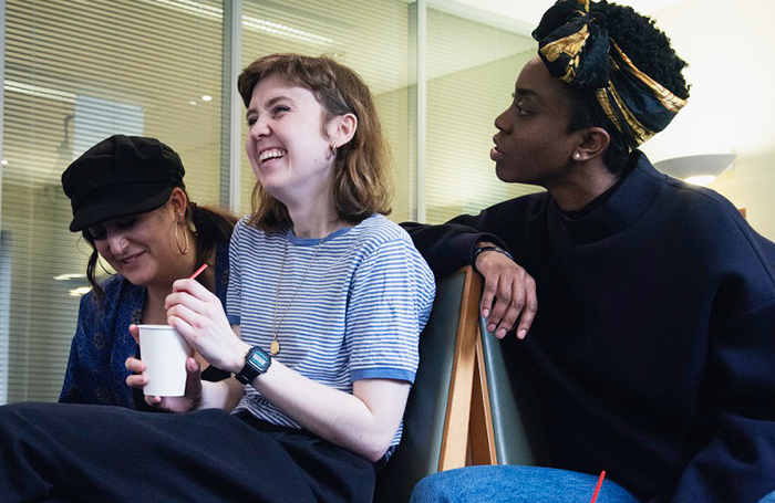 Izzy Tennyson (centre) with Rebekah Hinds (left) and Anita-Joy Uwajeh in rehearsals for Grotty. Photo: Sonia Archer
