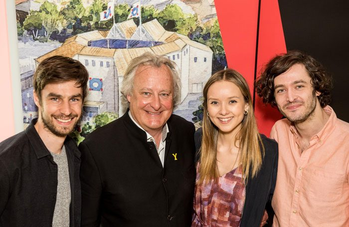 Dyfan Dwyfor, James Cundall, Alexandra Dowling and Alexander Vlahos at the launch of Shakespeare's Rose Theatre in York. Photo: JMA Photography