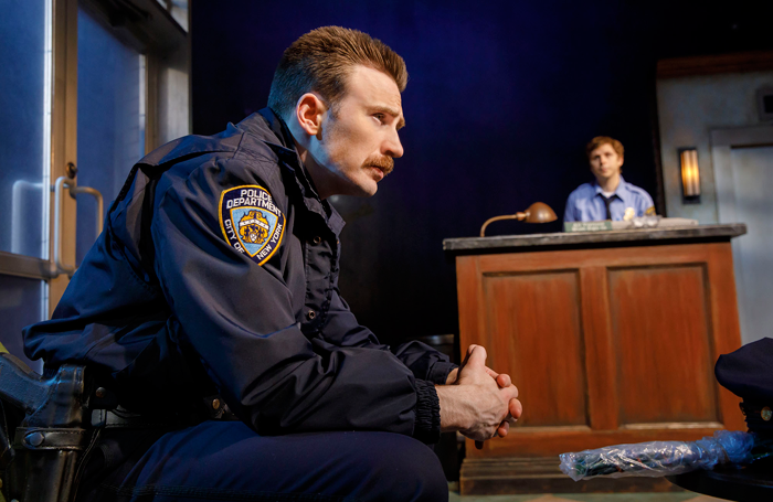 Chris Evans and Michael Cera in Lobby Hero. Photo: Joan Marcus