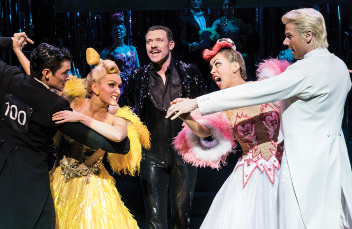 Jonny Labey, Lauren Stroud, Will Young, Michelle Bishop and Gary Watson in Strictly Ballroom The Musical. Photo: Johan Persson