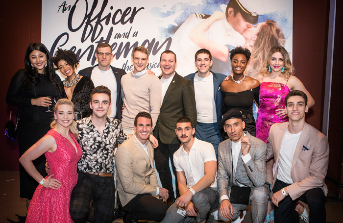 Cast members – back row: Maisy Bawden, Keisha Atwell, Joe Maxwell, Jonny Fines, Andy Barke, Ian McIntosh, Vanessa Fisher and Jessica Daley. Front: Emma Williams, Nathanael Landskroner, James Darch, George Ioannides, Keiran McGinn and Rhys Whitfield at the press night of An Officer and A Gentleman the Musical. Photo: Pamela Raith