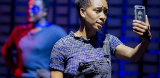 Genesis Lynea in The Assassination of Katie Hopkins at Theatr Clwyd. Photo: Sam Taylor